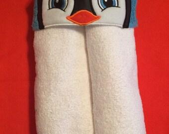 Little Penguin girl Hooded Towel