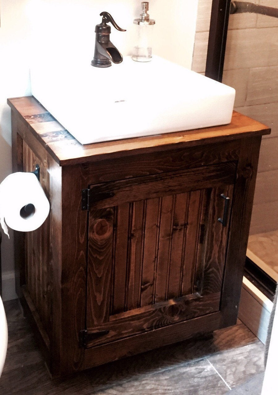 Bathroom Vanity For Vessel Sink Rustic Cabinet W Planked