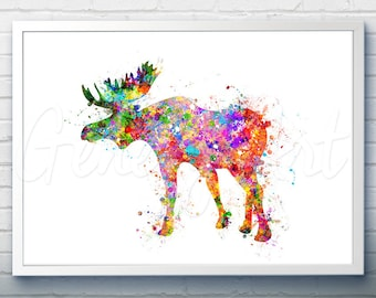 Moose Watercolor Art Print  - Watercolor Painting - Home Decor - Animal Watercolor Art Painting - Moose Poster - House Warming Gift [3]