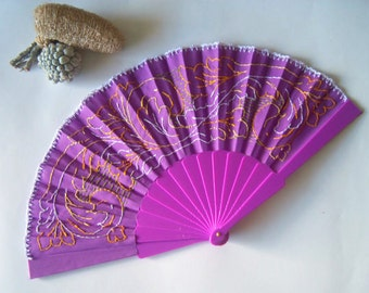 Hand embroidered fan.Fabric fan with plastic handle.Fretworks pattern fan.Pink or purple fan.Personalized fan (for example:a date,a name...)