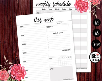 Weekly Planner, Printable Weekly Schedule, Agenda Page A5, 2017 Weekly Planner Printable, Weekly Planner Book, A5, A4, Letter Size, PDF Page