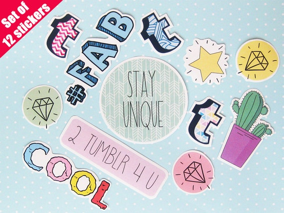 tumblr stickers pack2 laptop stickers vinyl clear