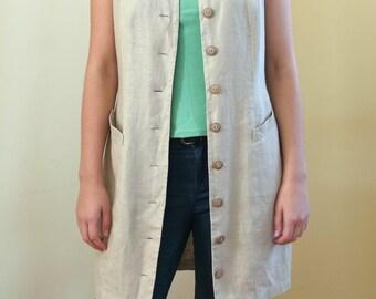 Vintage Women's Linen Vest,  Long Linen Vest, Size M
