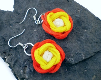 Turk's Head Rose Earrings, Knotted Rose Earrings, Macrame Rose Earrings, Turks Head Knot, Turkshead Knot (Red, Yellow & White)