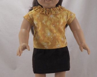"18"" American Girl Doll Shirt with Ruffled Collar and Corduroy Straight Lined Fashion Skirt"