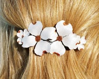 Flower Hair Barrette Dogwood Blossom, Large