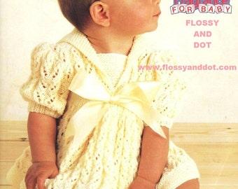 Vintage Pattern DK Knitted Baby Girl Dress PDF Download