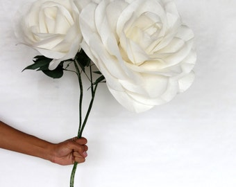 2 Giant Paper Flowers - Set of 2 Large White Roses with Flexible Stem