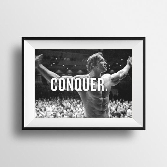 conquer motivational quote poster arnold schwarzenegger mr