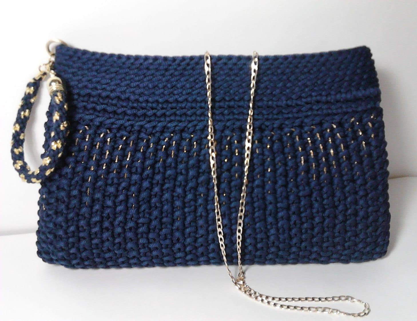 Knitting Pattern Evening Bag : Dark Blue Clutch Evening knitted clutch Wristlet bag
