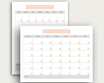 Printable Calendar Template | Instand Download | Blank Calendar PDF | Desk Calendar Templates | Planner