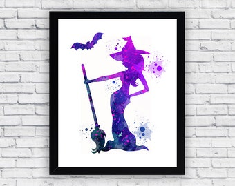 Witch Watercolor print, Witch Printable Wall Art, Witch wall decor, Witch home decor, Witch poster