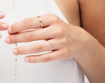 Dainty Gold Rings, Gold V Ring, Chevron, Stackable Rings, in 14kt Gold Filled, Sterling Silver, Chevron [PROTEUS]