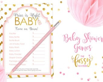 Price is Right Game Baby Baby Shower Games, Printable Game, Instant Download, Baby Shower Game, Printable Games, Girl Shower, Pink and Gold