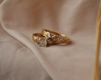 unique and retro 14kt yellow and white gold diamond engagement ring and wedding band set