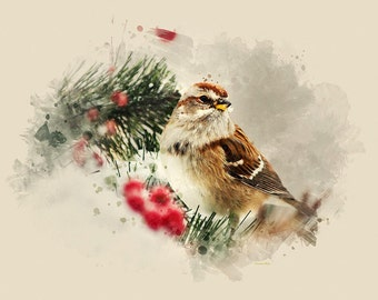 American Tree Sparrow, Bird Prints, Bird Art, Rustic Home Decor, Watercolor Print, Bird Pictures, Wall Art, Watercolor Birds