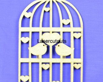 Laser cut birdcage, MDF, 3mm thick, ready to decorate, ideal for crafters - various sizes available