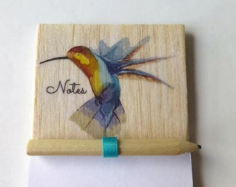 Magnet notepad - Fridge magnet - Hummingbird - Bird notepad - Magnetic notepad - Shopping list - Wood notepad - Bird fridge magnet - Bird