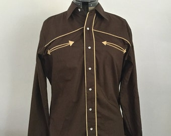 """Vintage Brown Western Shirt w/Pearl Snaps by VanCort, Size M, 15"""" - 15.5"""", Corduroy Piping, Cowboy Dress Shirt, Rockabilly"""