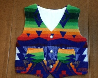 Hand crafted 4T vest made with Sapphire Diamond Pendleton wool!