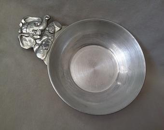 Vintage 1991 Pewter Porringer, Elephant Handled Dish for Porridge, Baby Bowl Dish, Kids Dishes, Seagull Pewter Bowl, Canada