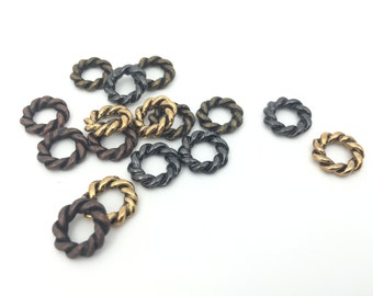 11mm Twisted Metal Ring Spacer, Metal Connector, Ring Pendant, Antique Gold, Antique Bronze, Antique Copper, Gunmetal, 10pcs, FC008