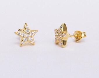 Silver studs - star studs - gold studs - gold stud earrings - stud earrings - gold earrings - zodiac jewelry - zodiac earrings - E13583