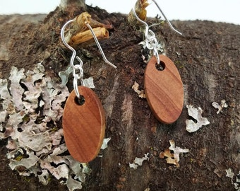 Oval Figured Redwood Dangle Earrings