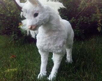 Fully Poseable OOAK Handmade Toy Baby Unicorn Kirin, Animal Art Doll