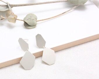 Sterling Silver Polygon Dangling Stud Earrings