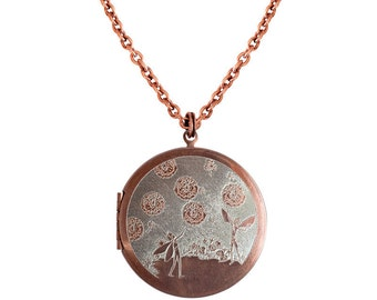 Fairies and Dandelions... Engraved Vintage Copper Locket 38mm FREE SHIPPING