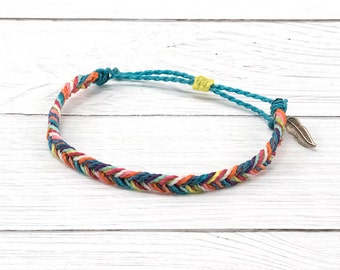 Fishtail Braid Friendship Bracelet, Rainbow Surfer Bracelet, Waterproof Wax Cord Bracelet, Stacking Boho Beach Bracelet, Adjustable Bracelet