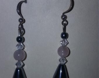 Hematite w/Rose Quartz Earrings