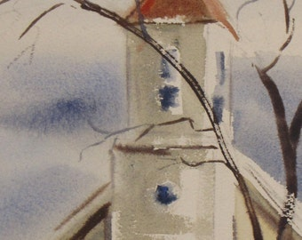 Vintage Church Watercolor