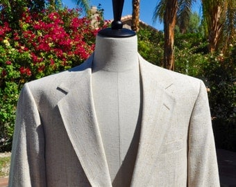 Lacrosse for Desmond's of Palm Springs Men's Cream Colored Silk Blazer Sz 42s