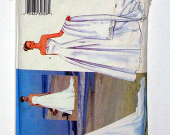 Butterick 6925 Uncut Sewing Pattern Size 6-8-10, Fit and Flare Boned Wedding Dress, Floor Length, with Stole