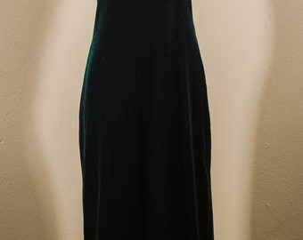 Green Velvet Look Evening Gown