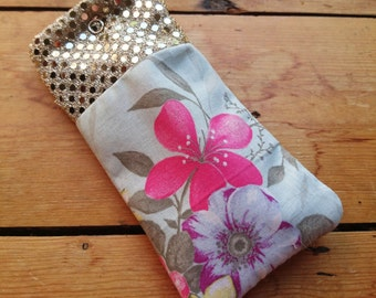Gold sequined and mint flowered, fleece-lined glasses/sunglasses case