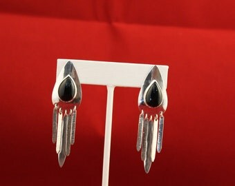 Sterling Silver and Black Onyx dangle earrings.