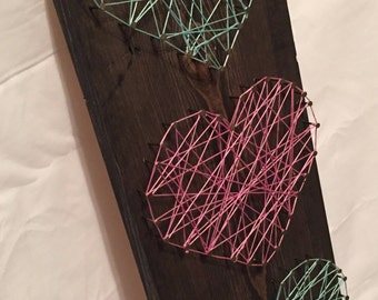 String art wood hearts