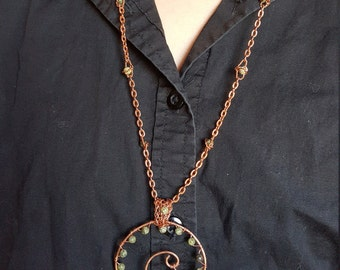 Hammered Copper Spiral Necklace with Russian Jade
