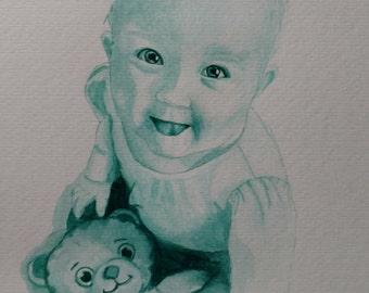 Custom watercolor children's portrait 1figure