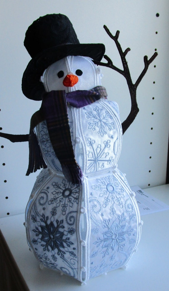 Free Standing Embroidered Snowman - Blue