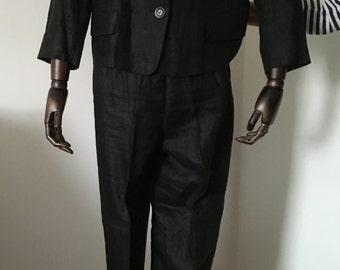 Black Linen trousers suit