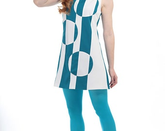 60s Style Mini Dress White and Blue Op Art Design  - Mod Space Age - Vintage Reproduction