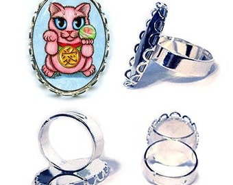 Pink Lucky Cat Ring Maneki Neko Love Cat Silver Cat Ring Japanese Cat Art Cameo Ring 25x18mm Gift for Cat Lovers Jewelry