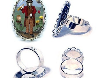 Victorian Steampunk Cat Ring Tabby Cat Fantasy Cat Art Cameo Ring 25x18mm Gift for Cat Lovers Jewelry