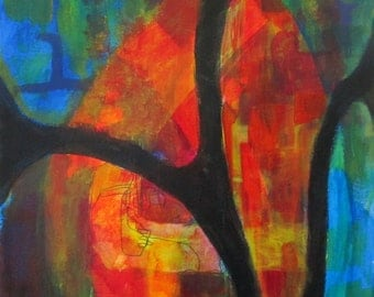 Original Art Abstract Acrylic Painting Orange Red Blue Green Yellow Bold Black Lines Unframed