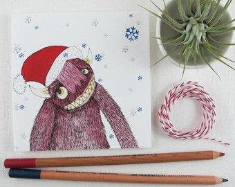 Christmas Card: Pink Monster Santa