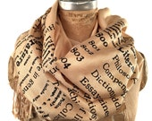 Literary scarf. Dewey Decimal for Literature book print scarf. Silkscreened pashmina. Choose sandy beige & more. Librarian, author gift.